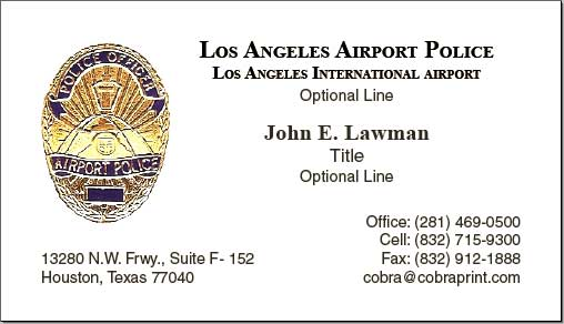 New business card company los angeles airport police supervisors business cards with foil embossed badges have a professional appearance that most people in our association like the only issue was that the existing colourmoves